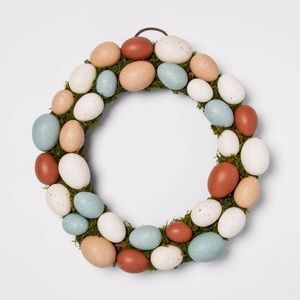 Threshold decorative easter egg and vines wreath